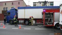 Uwaga kierowcy: utrudnienia wruchu naul.Sieradzkiej wWieluniu zpowodu pożaru samochodu ciężarowego