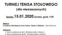 XX Powiatowy Feryjny Turniej Tenisa Stołowego dla niezrzeszonych