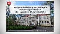 Starostwo Powiatowe wWieluniu niedostępne do28 sierpnia 2020 r.