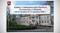 Starostwo Powiatowe wWieluniu będzie niedostępne dla interesantów do14 sierpnia 2020 r.