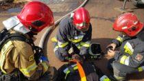 Ćwiczenia taktyczno – bojowe strażaków naterenie tartaku