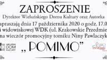 """Wieczór promocyjny tomiku wierszy pt. """"Pomimo"""" – ODWOŁANY"""