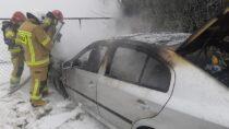Cztery zastępy straży gasiły pożar samochodu wmiejscowości Wielgie
