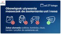 Nowe obostrzenia. Zakaz używania przyłbic ichust odsoboty 27 lutego
